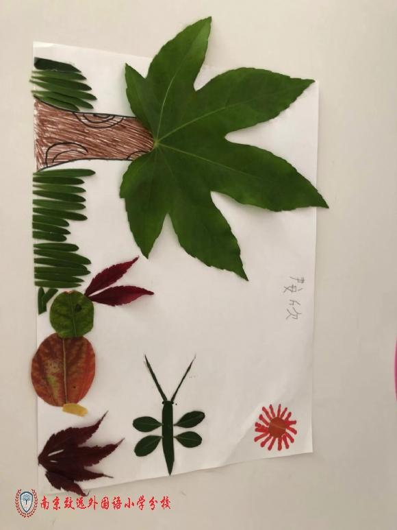 做树叶画的成果,虽然现在是秋冬,但我还是喜欢春天.图片